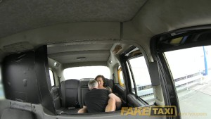 FakeTaxi Lady with pink underwear gets creampied