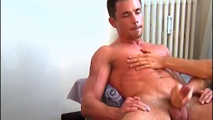 My sexy gym trainer lets me to play with his cock on video !