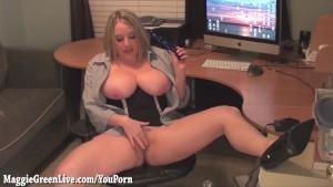 Busty Office Slut Maggie Masturbates At Desk!