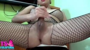 Hot Busty Asian Shemale Masturbate Hard