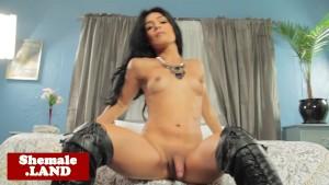 Gorgeous latina tranny wanks her cock