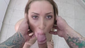 POVD - Sexy Adessa Winters gives good head in the bathroom POV Style