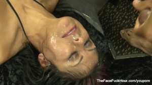 Hot babe gets face fucked