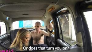 FemaleFakeTaxi Runaway passenger restrained by dominant blonde driver