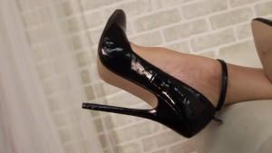 Audrey, Black dress, Black heels and toy