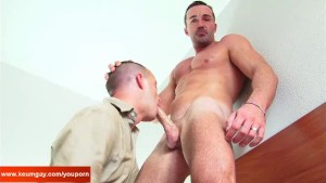 A nice innocent mature guy serviced his big cock by a guy in spite of him!