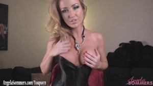 Busty Angela Sommers giving jerk off instructions