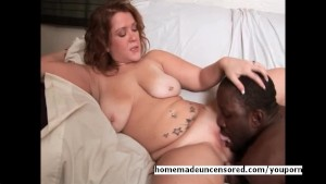 Huge titty babe riding black cock