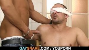 Hot looking gay fucks snared man