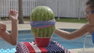 camsoda teens with big ass and big tits make a watermelon explode with rubber bands