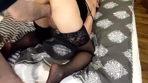 Fisting his hot girlfriend in bondage