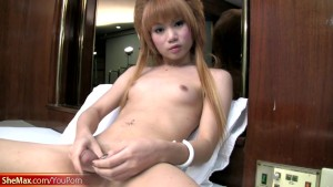 Pretty face ladyboy exposes her juicy dick and masturbates