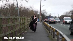 Chubby amateur flashing and bbw public masturbation of fat exhibitionist Emma outdoors showing pussy and tits to voyeur watchers