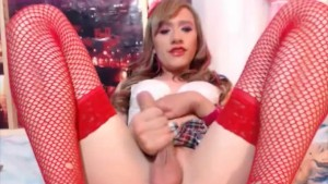 Kinky Shemale in Schoolgirl Outfit Gets Wild