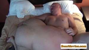Chubby mature bear cocksucking before anal
