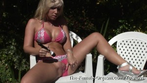 Karlie Simon is enjoying the sunshine in her bikini and feeling quite frisky so she masturbates to two nice pussy pulsing orgasms