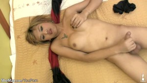 Short haired ladyboy shows off big boobs and decent shecock