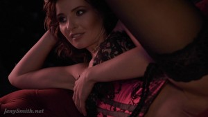 Jeny Smith - Red corset and stockings photo set