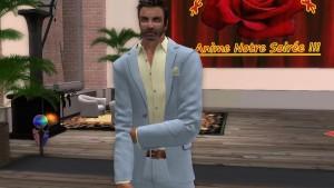 Un mec en boite virtuelle en costard cravate