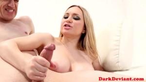 Busty femdom pegs sub before edging hj