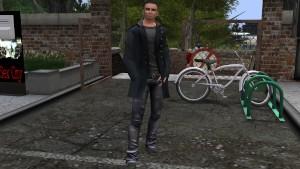 Un beau mec virtuel habille en pantalon, tee shirt, manteau noir