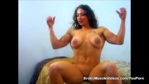 Big Titties and Massive Muscles Bulging Out Of Mini Dress