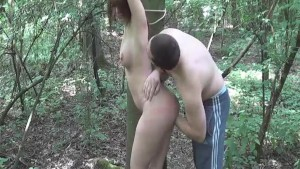 Roughly fisting his GF tied to a tree