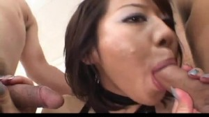 Tsubasa Okina Asian milf in sexy black lingerie gets pussy fingered and licked before giving a double mouth fucking in a raunchy threesome