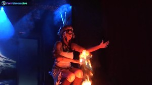 Busty stage performer Dorothy Black going topless and playing with fire