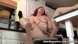 Pantyhosed milf Jessica O Hare masturbates in kitchen