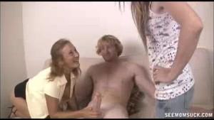Horny Teen And Milf Slobber A