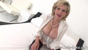 Busty milf Lady Sonia teaching to make cock hard