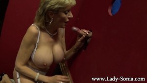 Blonde milf Lady Sonia sucking