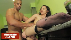 Stockinged tgirl pounded in interracial duo