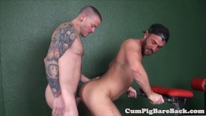 Tattooed jock barebacking tight ass after bj