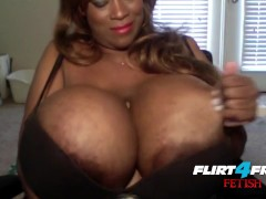 Ebony Mistress Crushes Sub With Her Huge Tits