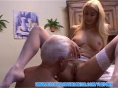 Stunning blonde nurse swallows senior injection