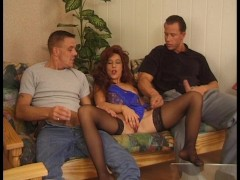 Husband and friend enjoy his wife