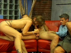 Couple fuck another guy together
