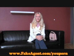 FakeAgent Naughty cowgirl rides hard cock