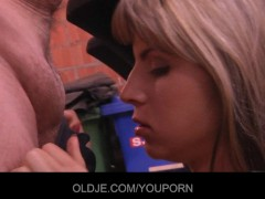 Young Gina pays the old bill collector with her pussy