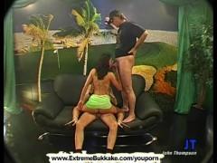 Sexy brunette babe is on her knees swallowing cum like a true slut