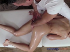 Massage Rooms Tall horny woman is oiled up and fucked by stud with big cock