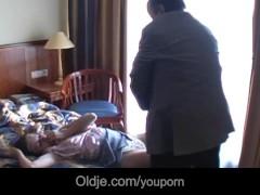 Moustache old guy fucks big jugged girl in hotel room
