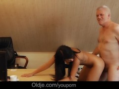 Smutty professor old Nick facialize 1...