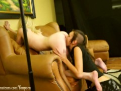 Sexy blonde has her ass eaten on casting couch