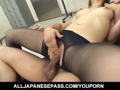 Misaki Inaba sexy Asian office lady gives cock stimulation with her feet