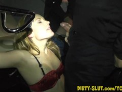 Naughty Nicole eats cum from plenty of men