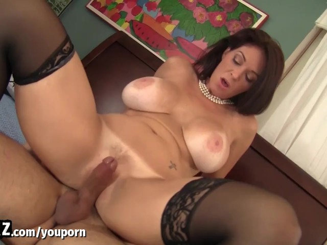 Busty mom rides huge cock