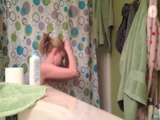 Girls With Small Tits Spied Taking A Shower At Home